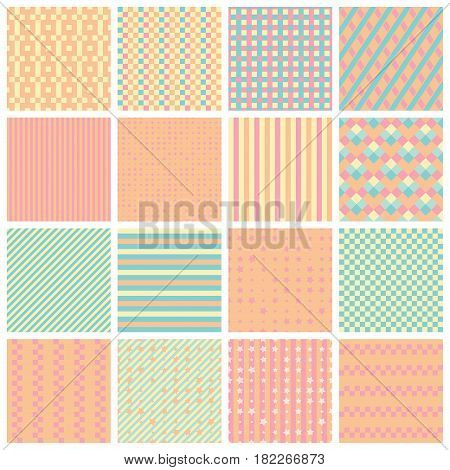 Collection of 16 cute seamless patterns with stripes stars bricks. Geo seamless pattern with pastel pink and green. Useful for fabric print wrapping paper scrap booking web design