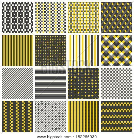 Collection of 16 cute seamless patterns with stripes stars bricks. Geo seamless pattern with yellow and grey. Useful for fabric print wrapping paper scrap booking web design