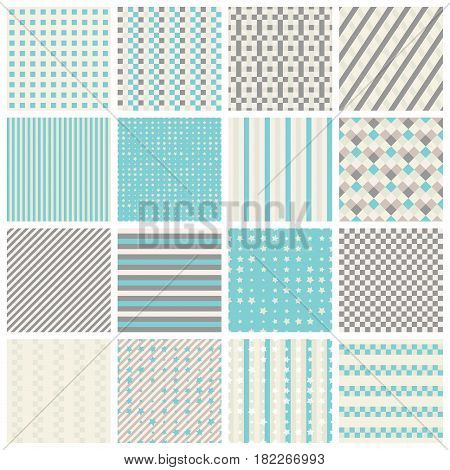 Collection of 16 cute seamless patterns with stripes stars bricks. Geo seamless pattern with blue and grey. Useful for fabric print wrapping paper scrap booking web design