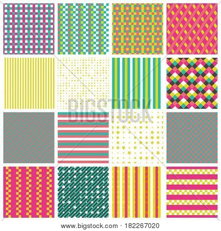 Collection of 16 cute seamless patterns with stripes stars bricks. Geo seamless pattern with pink green and yellow. Useful for fabric print wrapping paper scrap booking web design