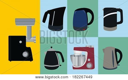 Set of Kitchen appliances. Electric kettle, meat mincer, food processor. Vector Illustration. EPS10
