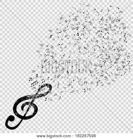 Set of musical notes with treble clef on transparent background. Vector Illustration. EPS10