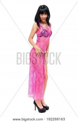 portarit of beautiful coquette young woman, isolated on white background in full length.