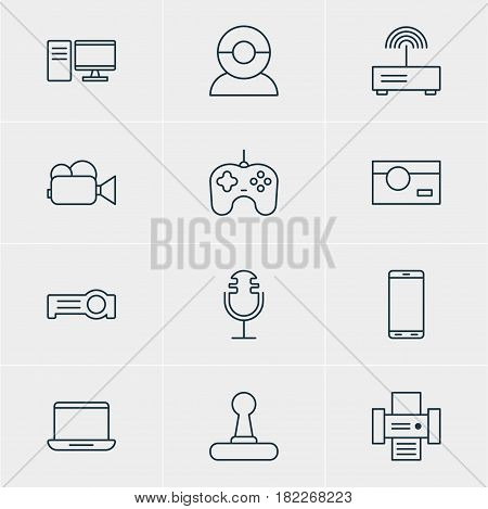 Vector Illustration Of 12 Technology Icons. Editable Pack Of Computer, Smartphone, Photography And Other Elements.