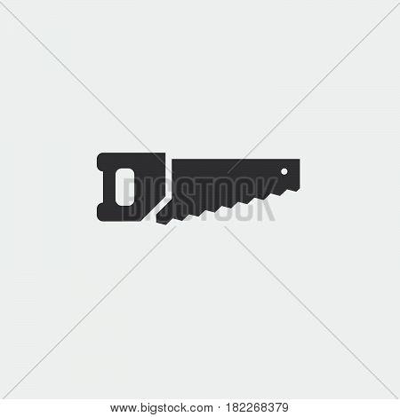 hacksaw icon isolated on grey background .