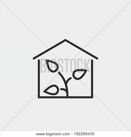 Greenhouse icon isolated on grey background .