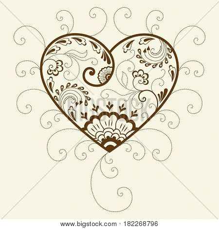 Vector illustration of mehndi heart ornament. Traditional indian style, ornamental floral elements for henna tattoo, mehndi and yoga design, cards and prints. Abstract floral vector illustration.