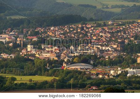 Aerial view of the town of Turnov, center of Czech Paradise.
