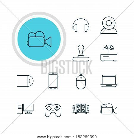 Vector Illustration Of 12 Device Icons. Editable Pack Of Video Chat, Dvd Drive, Modem And Other Elements.