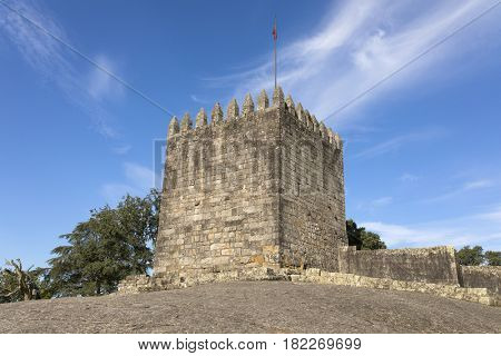 Castle of Povoa de Lanhoso against blue sky, north of Portugal