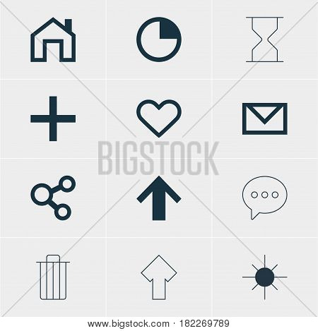 Vector Illustration Of 12 Interface Icons. Editable Pack Of Letter, Mainpage, Message And Other Elements.