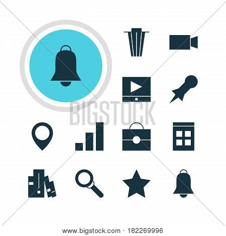 Vector Illustration Of 12 Internet Icons. Editable Pack Of Thumbtack, Portfolio, Magnifier And Other Elements.