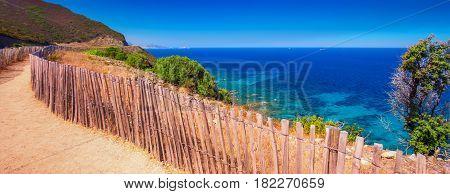 Beautiful coastline landscape L'Ile-Rousse. Corsica France Europe.