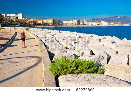 Ajaccio Old City Center Coastal Cityscape With Palm Trees And Typical Old Houses