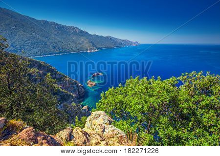 View From Famous D81 Coastal Road With View Of Golfe De Girolata From Bocca Di Palmarella, Corsica,