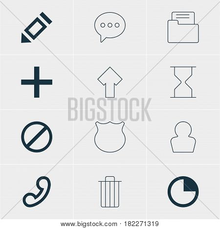 Vector Illustration Of 12 Interface Icons. Editable Pack Of Message, Dossier, Avatar And Other Elements.