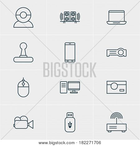 Vector Illustration Of 12 Hardware Icons. Editable Pack Of Photography, Loudspeaker, Smartphone And Other Elements.