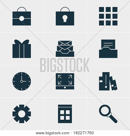 Vector Illustration Of 12 Online Icons. Editable Pack Of Magnifier, Portfolio, Keyhole And Other Elements.