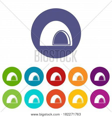 Souffle icons set in circle isolated flat vector illustration