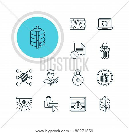 Vector Illustration Of 12 Data Icons. Editable Pack Of Confidentiality Options, Network Protection, Copyright And Other Elements.