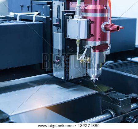 Laser cutting of metal sheet, 3D rendering