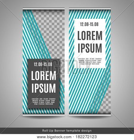 Roll Up banner template design with striped background. Stock vector.