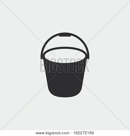 The bucket icon. Pail and bucketful symbol. Flat Vector illustration. Button
