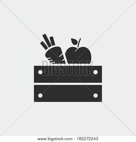 Icon of apples in wooden crate. harvest icon