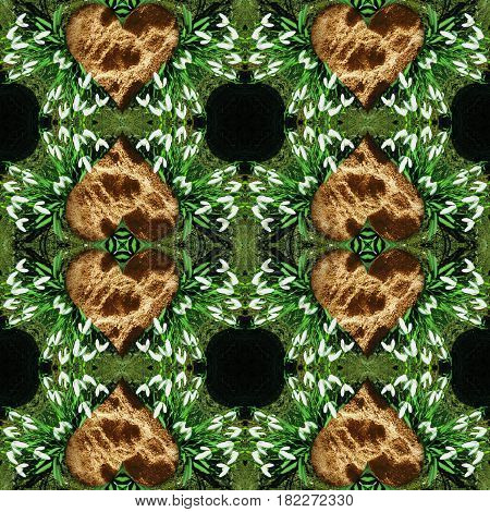 Natural seamless pattern with snowdrops and hearts of clay. Green, white, black and brown kaleidoscopic background of spring flowers