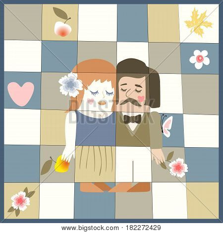 Wedding invitation with cute cartoon man and woman, apples, flowers, butterfly and heart. Vector illustration. Valentines day.