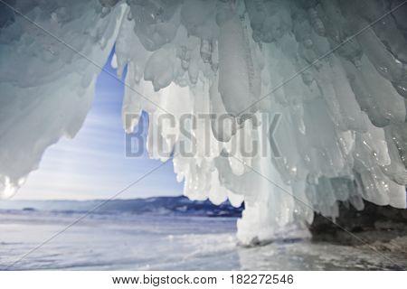 ice cave Lake Baikal Oltrek island. Winter landscape