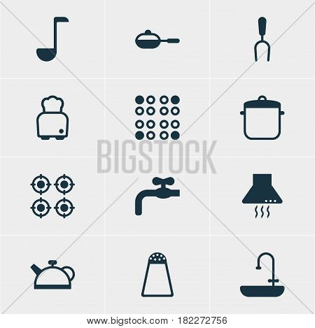 Vector Illustration Of 12 Restaurant Icons. Editable Pack Of Furnace, Soup Spoon, Extractor Appliance And Other Elements.