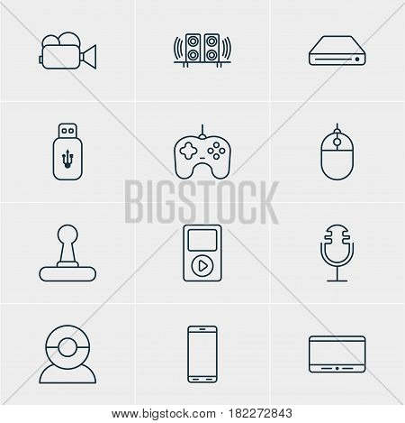 Vector Illustration Of 12 Hardware Icons. Editable Pack Of Game Controller, Cursor Controller, Camcorder And Other Elements.