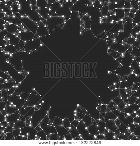Abstract vector mesh background. Chaotically connected points and polygons flying in space. Flying debris. Futuristic technology style card. Lines, points, circles and planes. Futuristic design.