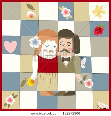 Wedding invitation with cute cartoon man and woman, raspberry, apples, butterflies, flowers and heart. Save the date. Unusual greeting card. Romantic illustration.
