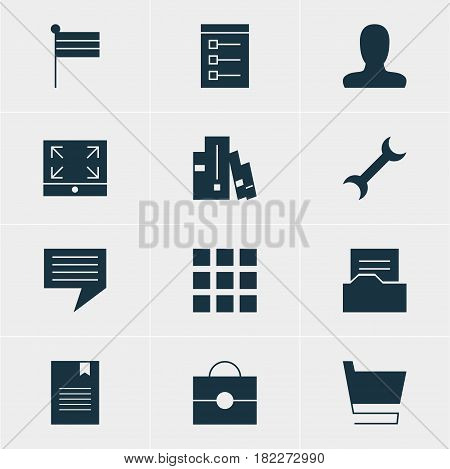 Vector Illustration Of 12 Online Icons. Editable Pack Of Portfolio, Chat, Map Marker And Other Elements.