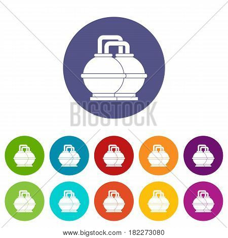 Industrial tanks for petrol and oil icons set in circle isolated flat vector illustration