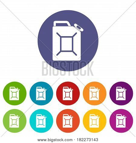 Fuel jerrycan icons set in circle isolated flat vector illustration