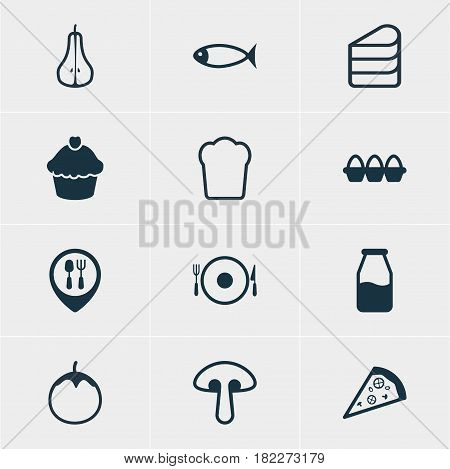 Vector Illustration Of 12 Food Icons. Editable Pack Of Loaf, Seafood, Cruet And Other Elements.