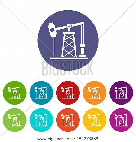 Oil derrick icons set in circle isolated flat vector illustration