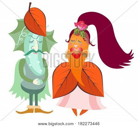 Greeting card with cute cartoon cucumber - groom and carrot - bride. Vector illustration.
