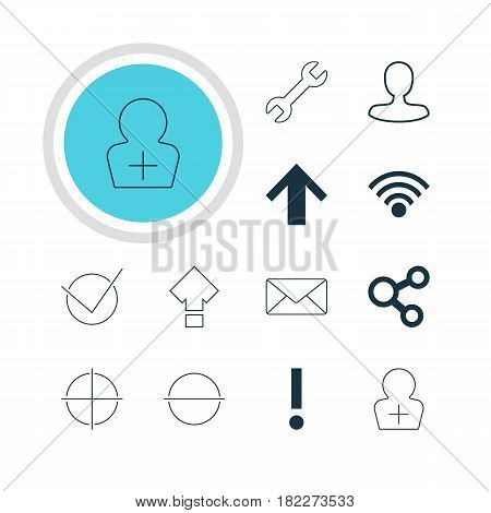 Vector Illustration Of 12 User Icons. Editable Pack Of Envelope, Register Account, Top And Other Elements.