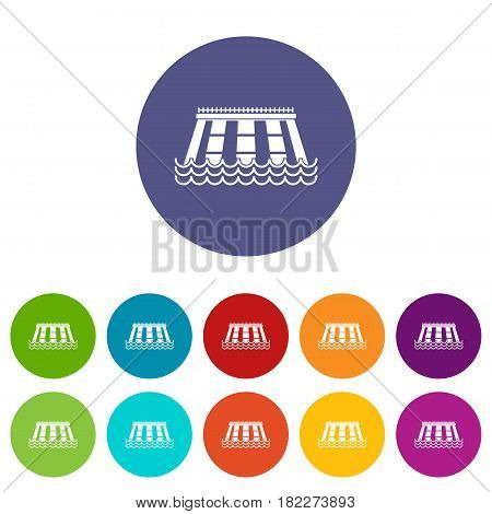 Railway wagon icons set in circle isolated flat vector illustration