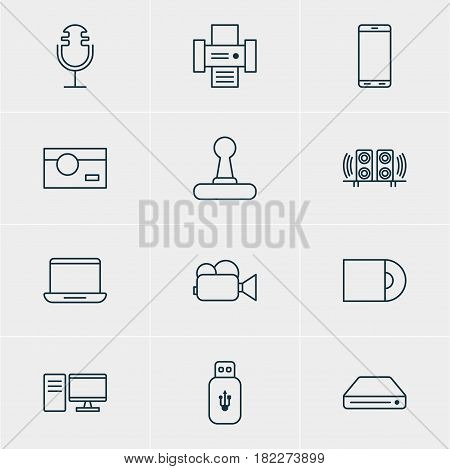 Vector Illustration Of 12 Hardware Icons. Editable Pack Of Usb Card, Camcorder, Photocopier And Other Elements.