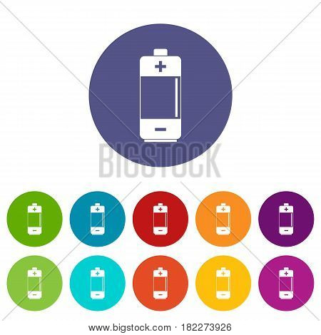Hydroelectric power station icons set in circle isolated flat vector illustration