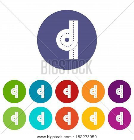 Crossroad icons set in circle isolated flat vector illustration