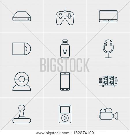 Vector Illustration Of 12 Hardware Icons. Editable Pack Of Monitor, Loudspeaker, Memory Storage And Other Elements.