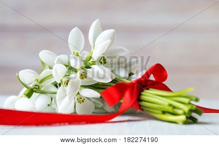 Fresh Snowdrops Bouquet On Wooden Background