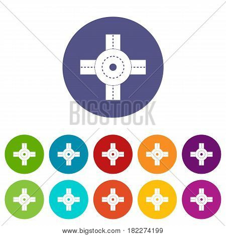 Big road junction icons set in circle isolated flat vector illustration