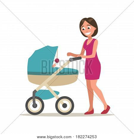 Mother walking and playing with child in a baby carriage. Color flat vector illustration isolated on white background.